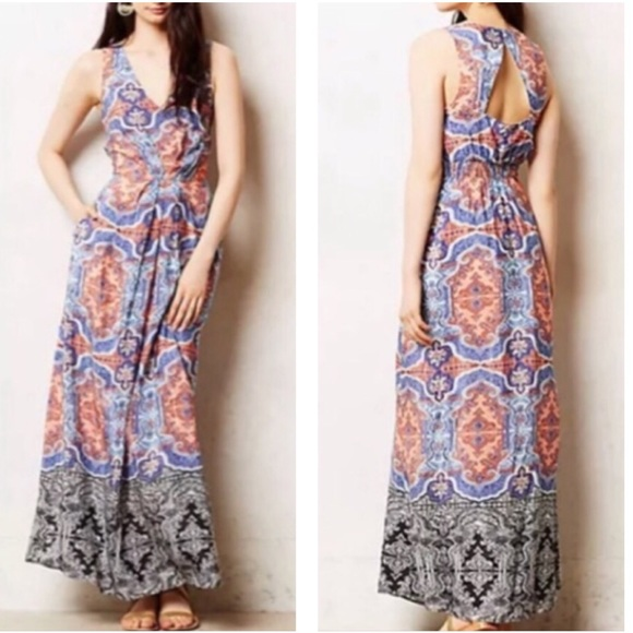 Anthropologie Dresses & Skirts - Maeve sleeveless silk bohemian print maxi dress
